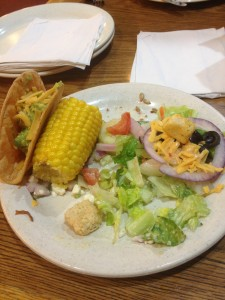 Fullerton Sizzler Taco and Corn on the Cob