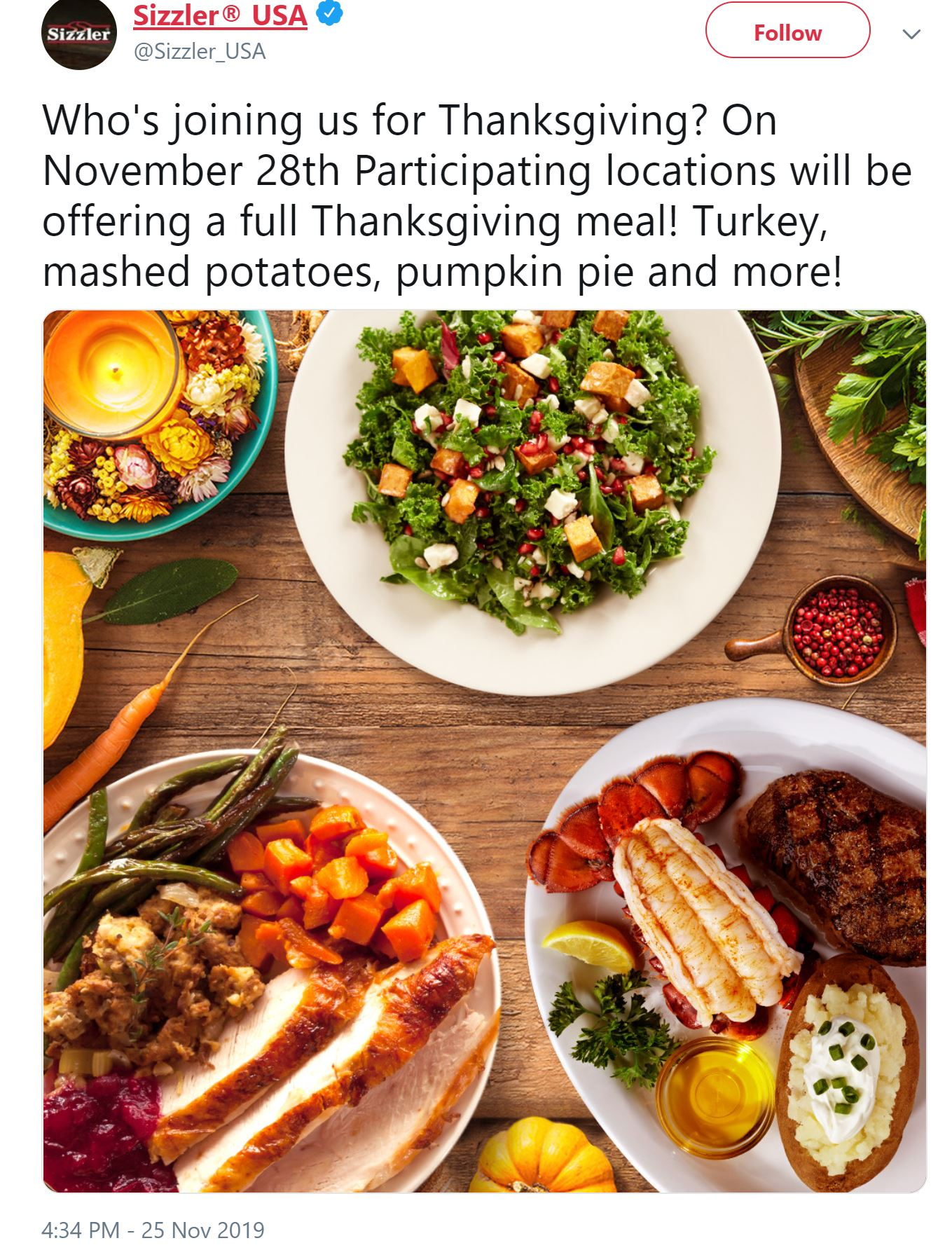 sizzler thanksgiving 2019