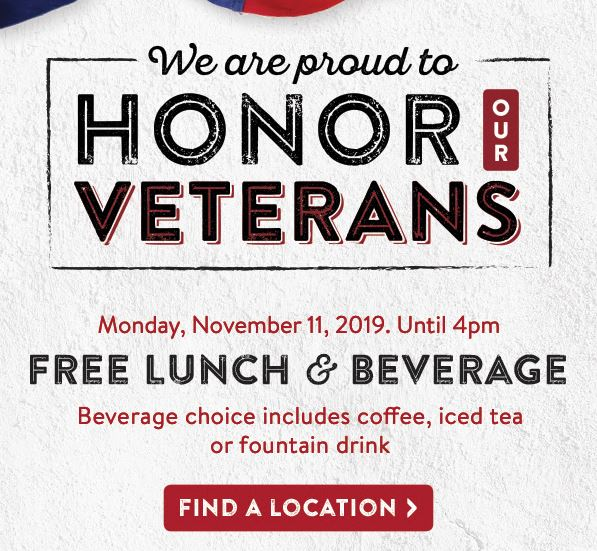 Sizzler Veterans Day Special 2019