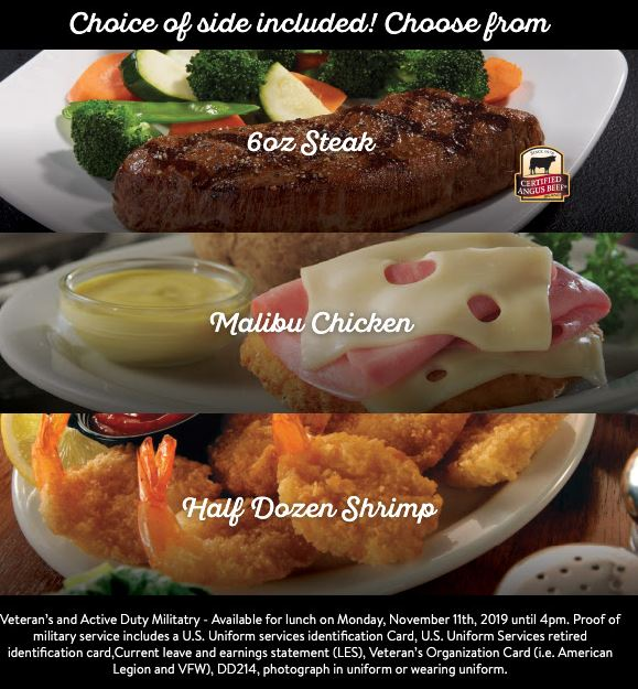 sizzler veterans day discount meal options 2019