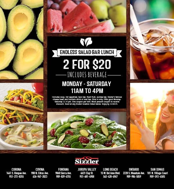 sizzler 2 for 20 salad bar deal